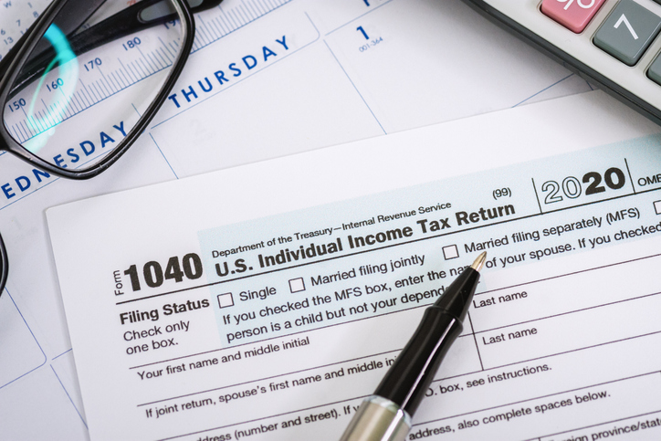 Close Up of Tax Form 1040
