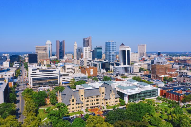 Aerial view of Columbus Ohio USA cityscape
