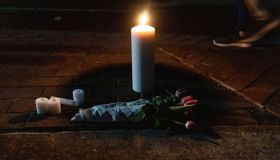 A small memorial is left in front of the Gazebo to honor the...