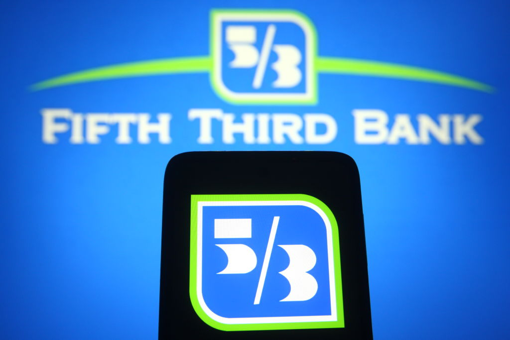 In this photo illustration, the Fifth Third Bank (5/3 Bank)...