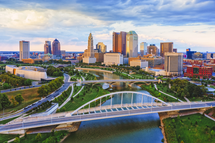 Columbus Ohio Scioto river and Main Street Bridge Aerial view of Downtown